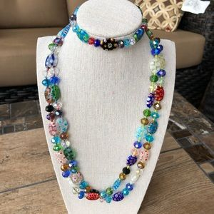 MURANO GLASS NECKLACE AND BRACELET SET